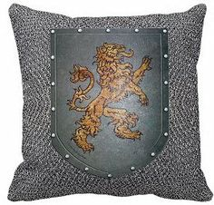 Decorating theme bedrooms - Maries Manor: Medieval-Knights & Dragons decorating ideas Chain Mail Rampant Lion pillow
