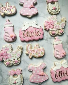 Pink baby girl baby shower set by Raining Cookies