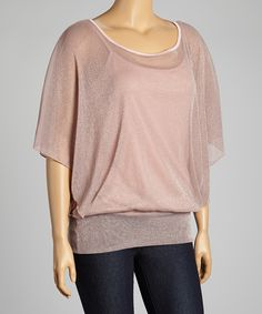Look what I found on #zulily! Pink Sheer Shimmer Cape-Sleeve Top - Plus by Select Brands #zulilyfinds