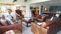 The Lodge, seating area. Enjoy your barrista coffee and chat with other guests or watch some sport with a cold beer