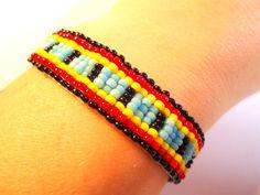 woven beaded bracelet colorful bracelet by VazJewelryOriginals
