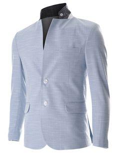 FLATSEVEN Mens Slim Fit 2 Button Stand Collar Single Breasted Linen blazer Jacket (BJ252) LightBlue, L