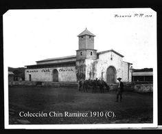 Iglesia Católica del Poblado Rosario de San Germán, Puerto Rico-Foto de Willian Armstrong 1910. Aqui usted puede ver claramente la torre y o campanario de madera.