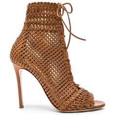 Woven leather booties by Gianvito Rossi. Woven leather upper with leather sole.  Made in Italy.  Shaft measures approx 125mm/ 5 inches in height.  Approx 100m...