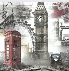 Decoupage Vintage, Vintage Paper, London Drawing, London Illustration, London Photos, London Art, British Isles, London England, Kitsch