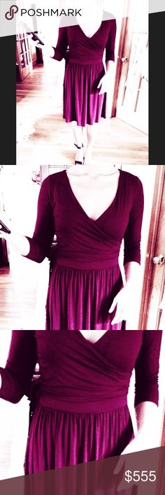 GILLI WRAP DRESS Maroon color faux wrap dress, 3/4 length sleeves, fall just below the knees, knit jersey size small, like new. Gilly Hicks Dresses Midi