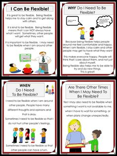 Social Story~ I Can Be Flexible! Sample Pages: This social story is intended to help those who have a difficult time being flexible. Social Skills Lessons, Teaching Social Skills, Social Emotional Learning, Coping Skills, Life Skills, Teaching Kids, Folder Games, File Folder, Habits Of Mind