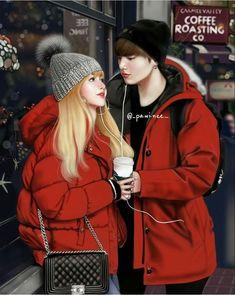 Boy in luv (bts x blackpink) - Nini's Birthday (Finale) Jungkook Fanart, Kpop Fanart, Bts Jungkook, Couple With Baby, Anime Love Couple, Kpop Couples, Cute Couples, Bts Girlfriends, K Pop