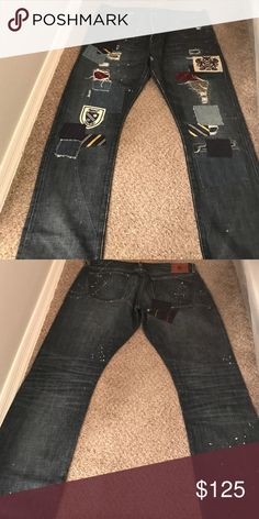 Rugby Ralph Lauren jeans Rugby by Ralph Lauren jeans there a sz 38x32 very distressed patches threw out front n back  of jeans there a vintage slim   worn once Ralph Lauren Jeans Slim