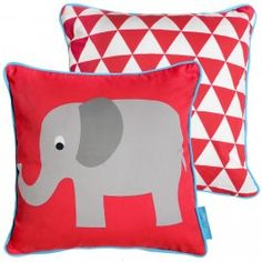 Howkapow - Red Elephant Organic Cotton Cushion