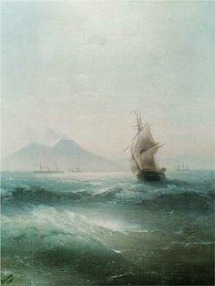 Ivan Aivazovsky (Russian-Armenian 1817-1900) | The Bay of Naples. View of Vesuvius