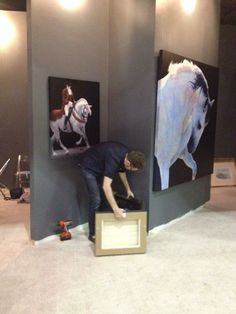 Setting up the stand in Palm Beach, two paintings up...many more to come!  http://belgraviagallery.com/artist/lesley-thiel/