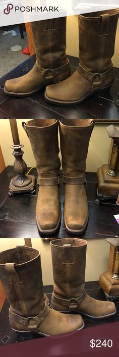 Frye Women's Harness 12R Boots Dark Brown color. Worn twice. So, like new condition. Leather boot with neoprene sole. Frye Shoes Heeled Boots