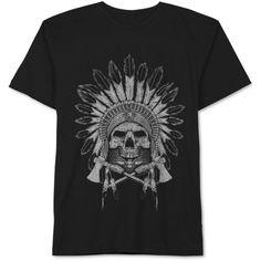 Jem Men's Thunderbird Skull T-Shirt (2.835 HUF) via Polyvore featuring men's fashion, men's clothing, men's shirts, men's t-shirts, black, mens graphic t shirts, mens skull t shirts, mens t shirts and mens skull shirts