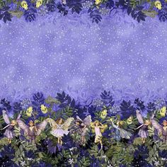 So pretty! Michael Miller House Designer - Flower Fairies - Night Fairies Border in Nite Fabric Print Design, Cicely Mary Barker, Night Flowers, Michael Miller Fabric, Panel Quilts, Border Print, Flower Fairies, Any Images, Main Colors