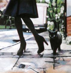 "Saatchi Online Artist: thomas saliot; Oil 2013 Painting ""Black cat"""