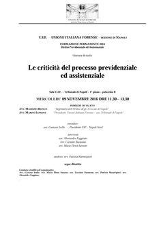"""Studio Legale Buonomo - Diritto Previdenziale ed Assistenziale: Giornata di studio """"Le criticità del processo prev..."""