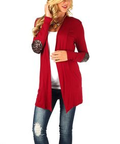 Another great find on #zulily! Burgundy Sequin Elbow Patch Maternity Open Cardigan - Women by PinkBlush Maternity #zulilyfinds