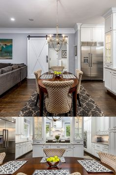 Chef's kitchen with an adjoining breakfast room, modern cahndelier, area run, barn door and more designer details. Listed in Vienna, Virginia for $1.6M by The Casey Samson Team is a Wall Street Journal Top Team in Northern Virginia