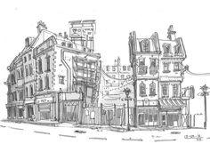 East London  #sketch #drawing #pen #london #shoreditch #street #arthabit #lineart by __br__ba