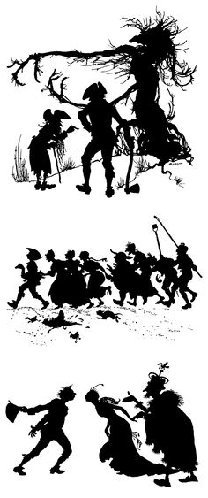 """Rackham's silhouette illustrations from 'The Golden Goose'. """"Grimm's Fairy Tales"""", 1909"""