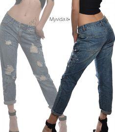 Jeans elasticizzati regular fit aderenti con risvoltino Donna