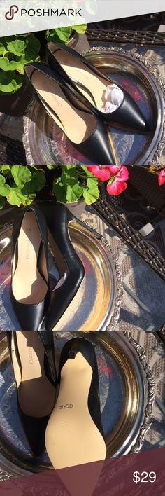 "Boston Proper pump Black leather pump NWOB 4"" heel. Man made sole. New Boston Proper Shoes Heels"