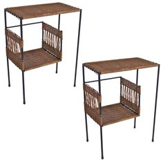Iron and Wicker Tables in the Style of Jacques Adnet   1stdibs.com