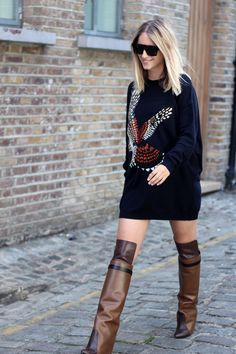 KNEE HIGH BOOTS & COMFY KNITS. Boots Givenchy, jumper Stella McCartney, and sunglasses Celine.