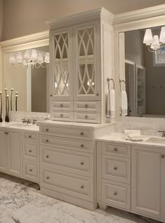 Custom Home Master Suite - traditional - Bathroom - Orlando - Osprey Custom Homes Love the center tower design. Bathroom Renos, Bathroom Renovations, Small Bathroom, Home Remodeling, Bathroom Storage, Bathroom Ideas, Bathroom Pictures, Bathroom Vanities, Bathroom Organization