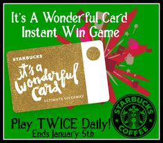 Starbucks It's A Wonderful Card Instant Win Game WIN FREE Coffee,a Peppermint Cake Pop & more Enter twice per day-ENDS 1/5