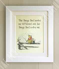 Personalised winnie the pooh christening quote print new baby winnie the pooh framed quote print new babybirth nursery picture gift pooh bear and piglet the things that make me different are the things that make negle Images