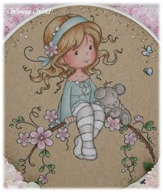 Wenches Kort og Papir: Sweet Blossom ♥ I love the pencil coloring on the Kraft paper!