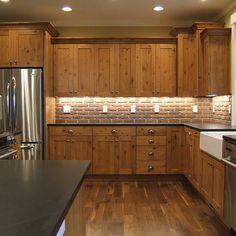 backsplash tile with knotty alder cabinets | Knotty Alder Cabinets, Shaker style cabinets, brick back splash ...