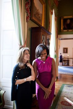 First Lady Michelle Obama waits with Caroline Kennedy Schlossberg in the Green Room of the White House before making remarks to the White House Historical Association, Oct. 31, 2011.