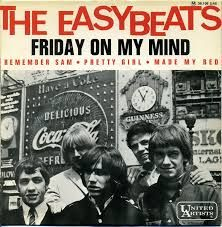 "1966 ""Friday on My Mind"" is a song by Australian rock group The Easybeats. Written by band members George Young and Harry Vanda, the track became a worldwide hit, reaching #16 on the Billboard Hot 100 chart in May 1967 in the US #1 on the Dutch Top 40 chart #1 in Australia and #6 in the UK, as well as charting in several other countries. In 2001, it was voted ""Best Australian Song"" of all time by the Australasian Performing Right Association in 2007."