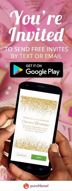 Send free invitations by text message right from your phone and get RSVPs instantly with Punchbowl! Party planning has never been faster. Download the Punchbowl Android app and start planning your next party now! Invitation App, Text Message Invitations, Online Invitations, Birthday Invitations, Golden Birthday, 80th Birthday, 1st Birthday Parties, Birthday Ideas, Retirement Parties