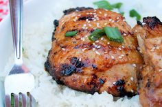 Grilled Coconut Sticky Chicken with Sweet Rice - Creole Contessa