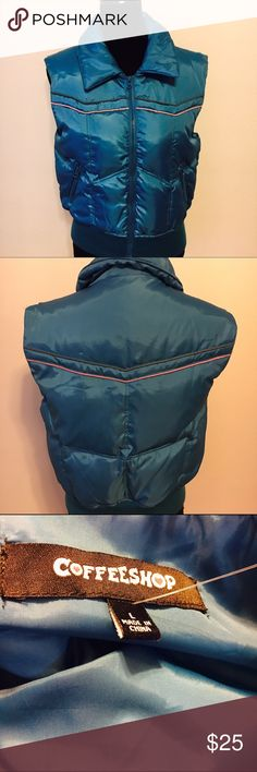 Coffeeshop brand down filled puffy vest Retro style puffy vest in great condition. Sort of shiny material with pink and brown stripe. Perfect addition to any wardrobe. Arm to arm 19 shoulder to hem 22. CoffeeShop Jackets & Coats Vests