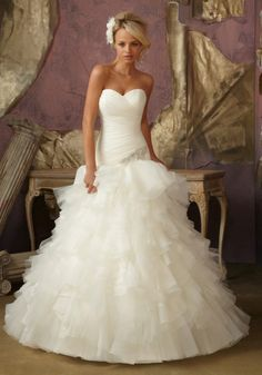 Diamante Applique, Ruffled Organza Tulle Designer Wedding Dress