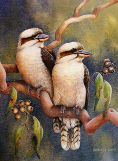 Home Amongst the Gum Trees (artwork by Katherine Castle) Birds Painting, Indigenous Art, Wildlife Paintings, Animal Art, Wildlife Prints, Painting, Art, Australian Native Animals, Bird Painting Diy