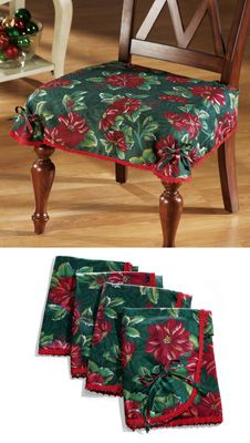 Poinsettia Pattern Chair Seat Cover Set