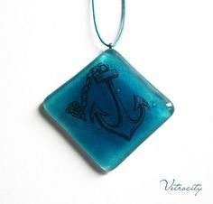 Blue Anchre Necklace. Fused Glass Necklace. by Vetrocity on Etsy, $19.00