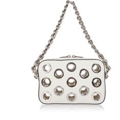 Prada Leather Handbag ($965) ❤ liked on Polyvore featuring bags, handbags, white, white hand bags, leather purses, white purse, leather hand bags and white leather handbags