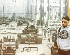 at Checkpoint Charlie a Berlin Wall crossing point between East and West Berlin. the checkpoint name was given by the Western Allies.  pic above shows an infamous 1961 standoff between U.S. and Soviet tanks on either side of the checkpoint over a territorial dispute  #checkpointcharlie #berlinwall #gdr #standoff #allied #robertfkennedy #kgb #peterfechter #dahlem #friedrichstadt #berlin #usarmy #soviet #coldwar #territorial #tank #jeep #warning #sign #dirtydonuts by jimlucky