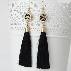 New Tassel Long Earrings For Women Bijoux Fashion Jewelry Wholesale Rose Flower Rhinestone Dangle Earrings Brincos Pendientes