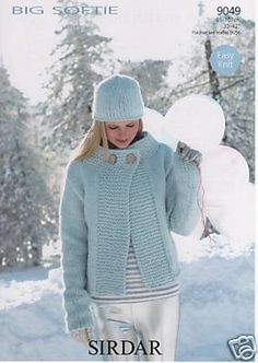 Sirdar EASY KNIT knitting pattern no 9049 Sirdar Big Softie Jacket Size 32 in 34 in 36 in 38 in 40 in 42 in inches Big Softie - Shade 335 11 11 12 13