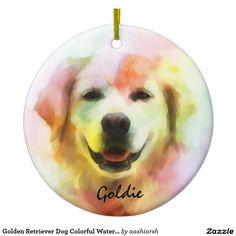 Golden #Retriever #Dog Colorful Watercolor Art Ceramic #Ornament #Christmas #Christmas2016 #christmasdecoration #xmas #goldenretrievers #art #animal #doggie #pet #custom