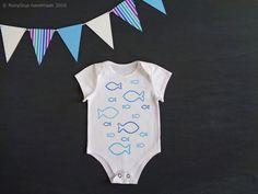Baby onesie, cotton bodysuit, blue shades, hand-painted onesie, fishes, sea baby shower, summer, little boy, baby girl, newborn photo props - by RobyGiup