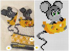 Knitting Charts, Knitting Stitches, Knitting Patterns, Crochet Patterns, Knitted Mittens Pattern, Knit Mittens, Cross Stitch Charts, Cross Stitch Patterns, Especie Animal